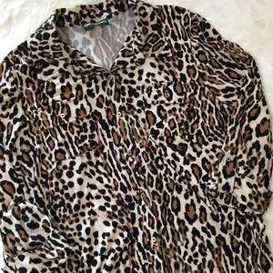 Karl Lagerfeld Leopard Print Button Down Shirt